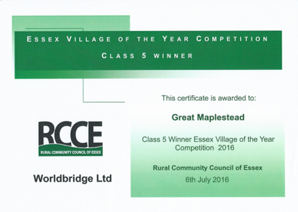 Essex Village of the Year Award 2016